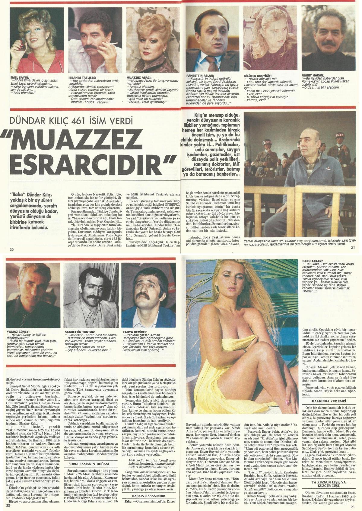 Erkekçe Dergisi arşivleri, Dündar Kılıç, uyuşturucu kullanan ünlüler
