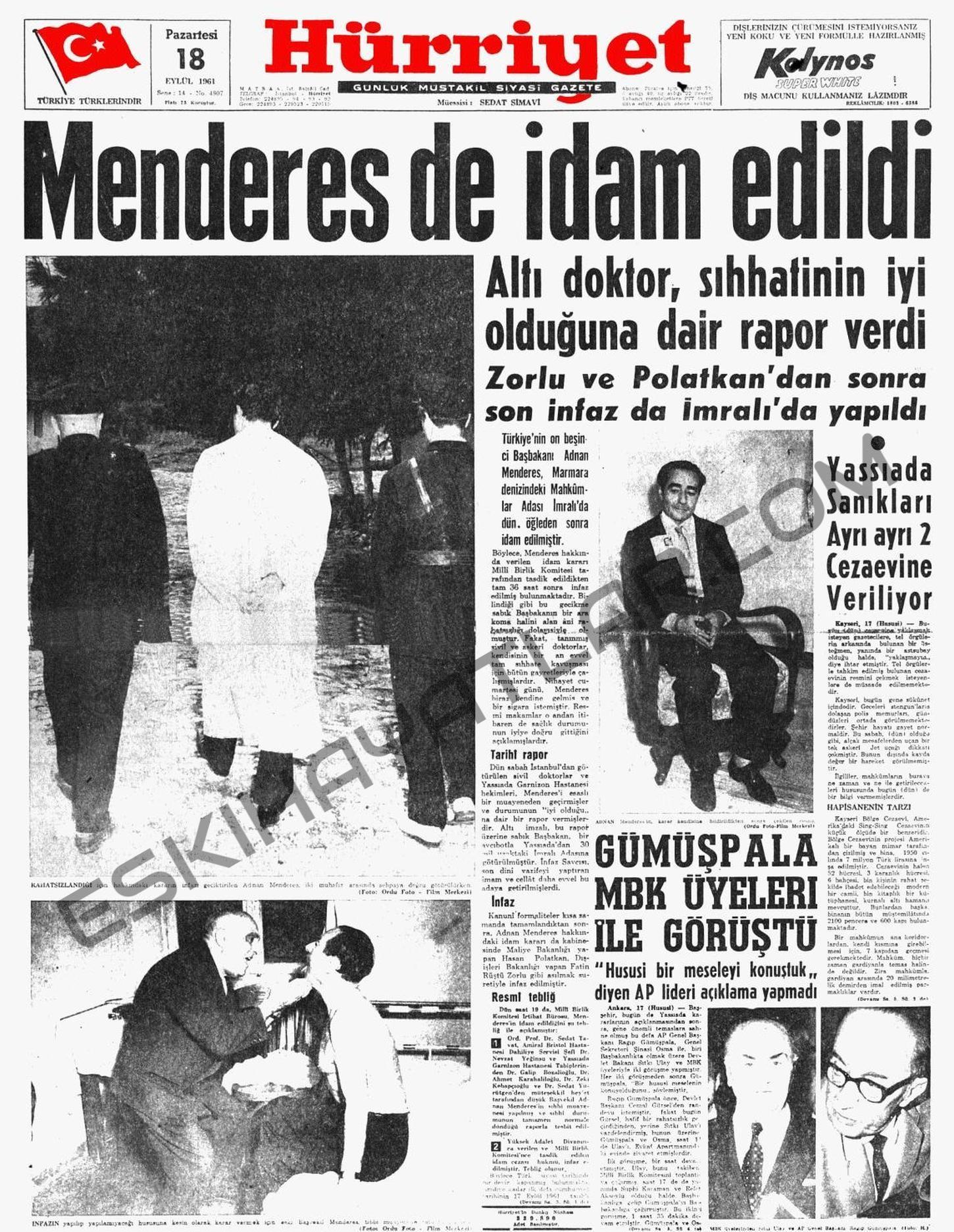 adnan-menderes-idam-edildi-hurriyet-gazetesi-1960-haberi (1)