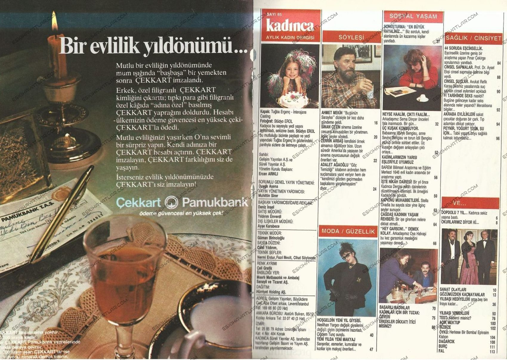 0342-pamukbank-reklami-1985-cek-kart-bir-evlilik-yil-donumu-temali-reklam