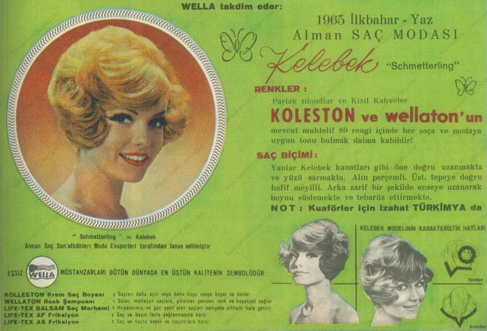 0424-wella-koleston-1965-yilinda-sampuan-reklamlari-wellaston-turkimya-reklamlari-schmetterling-kelebek-sac-stili-gorseli