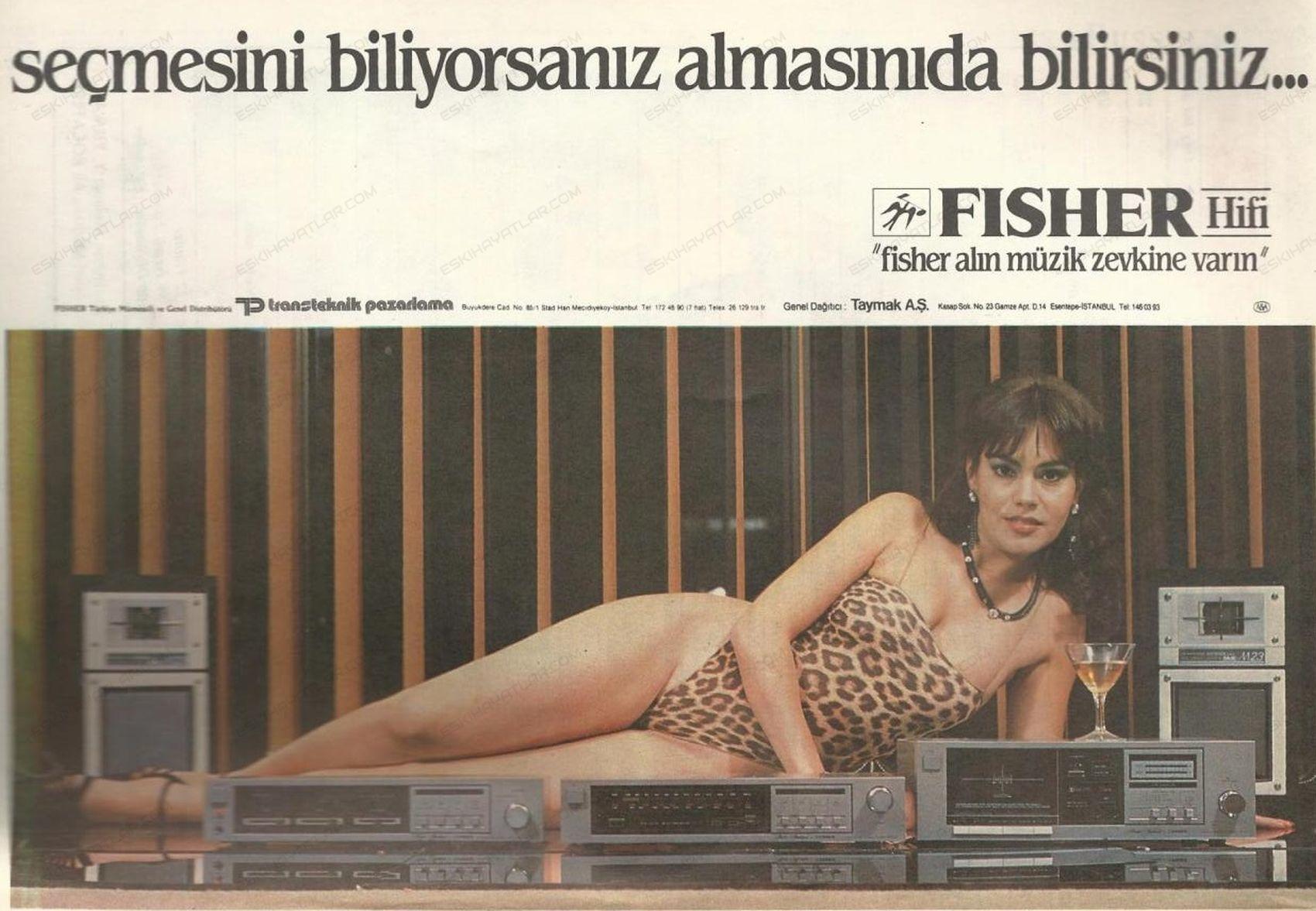 0385-transteknik-pazarlama-fisher-hi-fi-sistemleri-seksenli-yillarda-muzik-sistemleri-taymak-reklamlari-leopar-mayolu-kadin